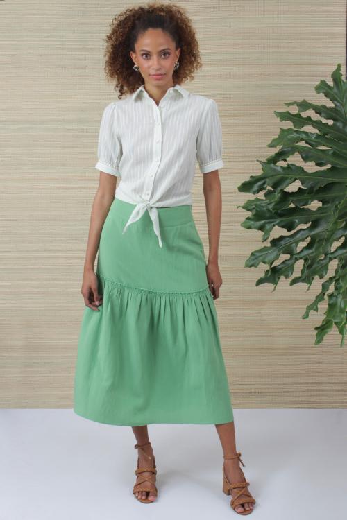 Camisa Manga Curta Ponto Ajour - V21