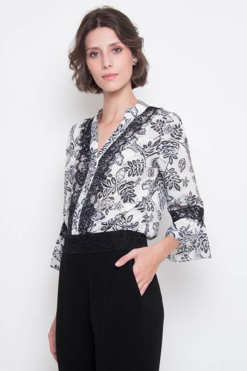 Camisa katharina decote renda estampa pb renda - V20