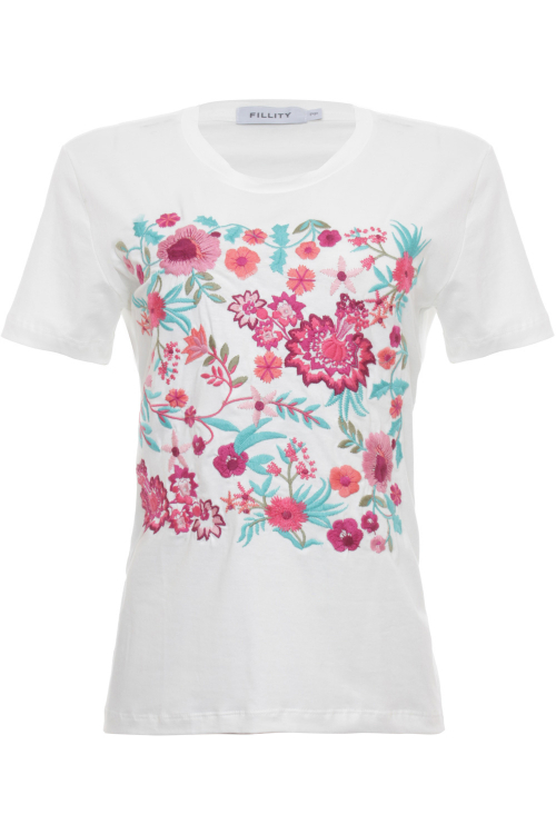 T-Shirt Bordada Flores - V21