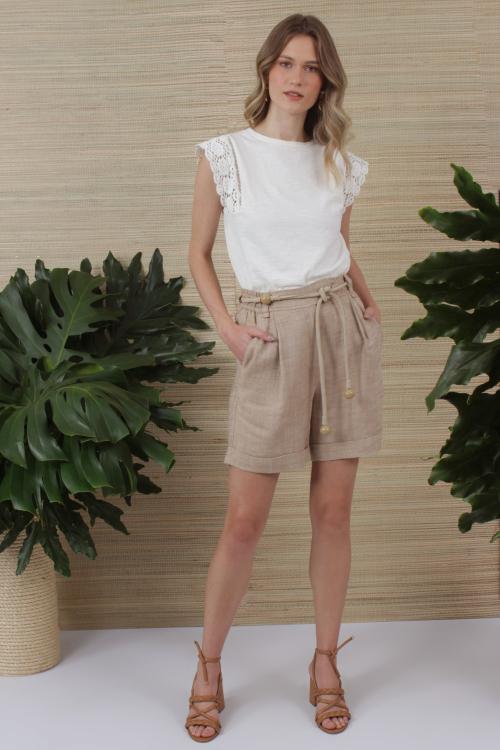 Shorts Linho Blend Pregas - V21