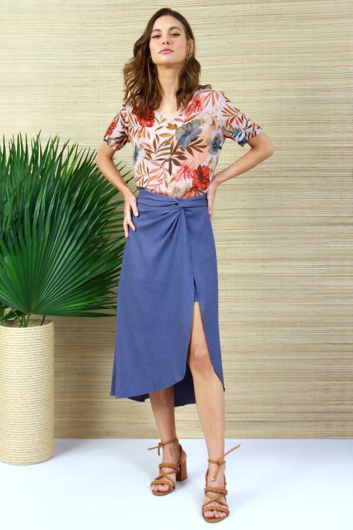 Shorts Saia Linho Blend Pareo Azul - V21