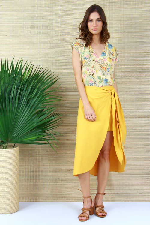 Shorts Saia Linho Blend Pareo Amarelo - V21