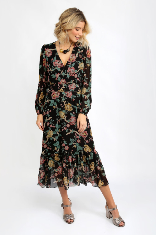 Vestido Tilly Cach.Floral Black - I21