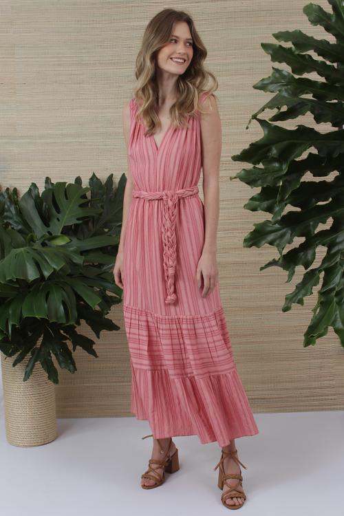 Vestido Listras Cinto Trancado - V21