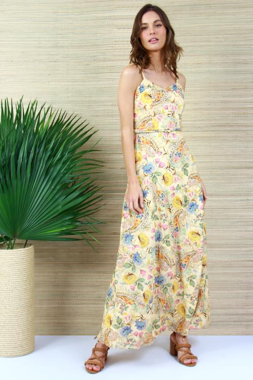 Vestido Linho Blend Cashmere Floral
