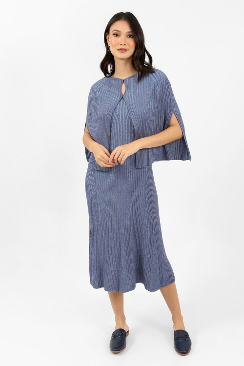 Vestido Tricot Canelado Com Capa - I21