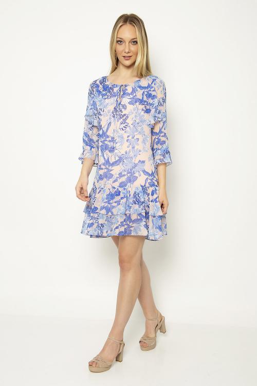 Vestido ggt floral babados - V19