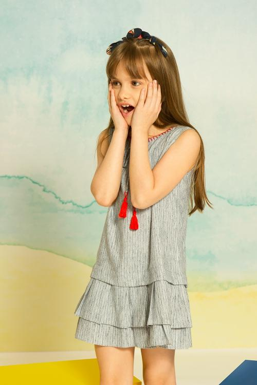Vestido bordado listrado infantil - V19