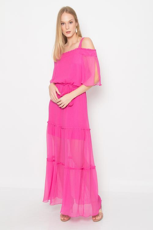 Vestido longo seda chiffonada - V19