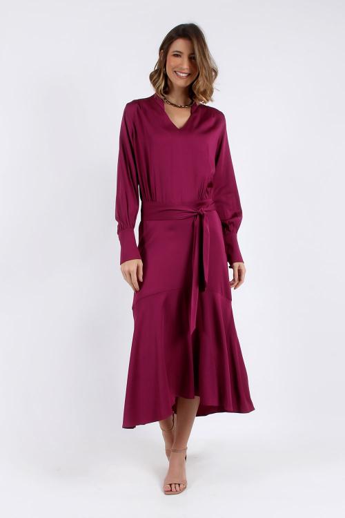 Vestido Decote V Com Pala - P - V20