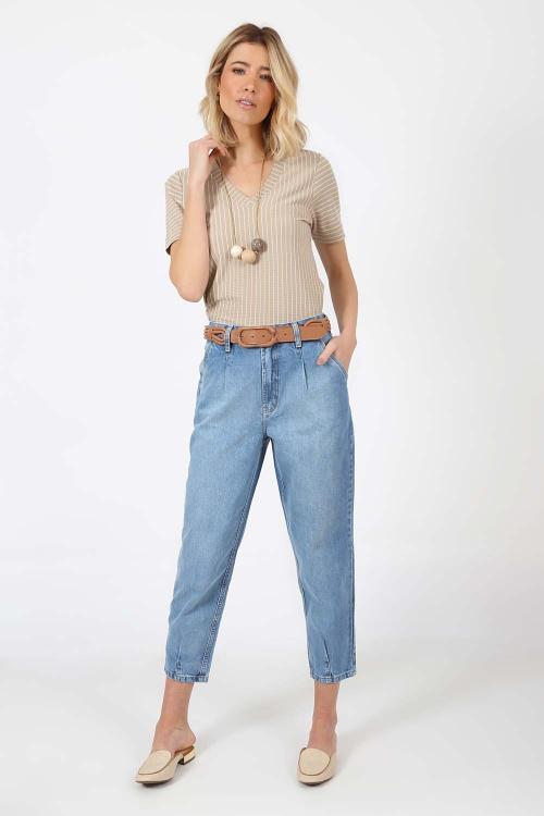 Blusa decote v listrada - V21